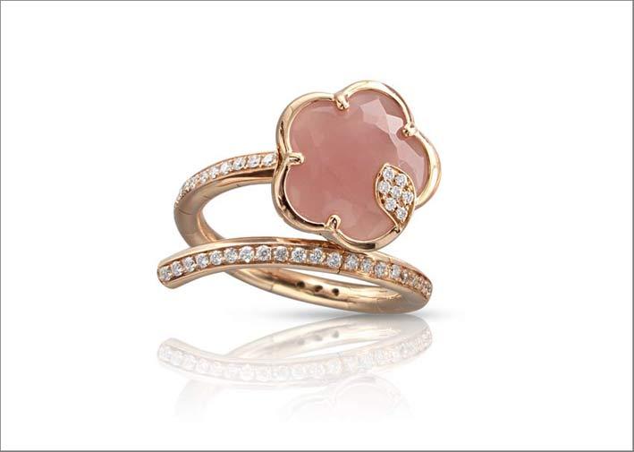 Pasquale Bruni, anello in oro e diamanti con calcedonio e agata