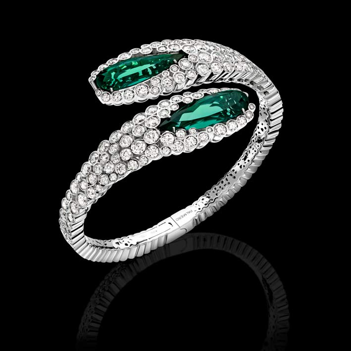 Bubbly Collection: bracciale in diamanti bianchi e gocce di tormalina verde su oro bianco