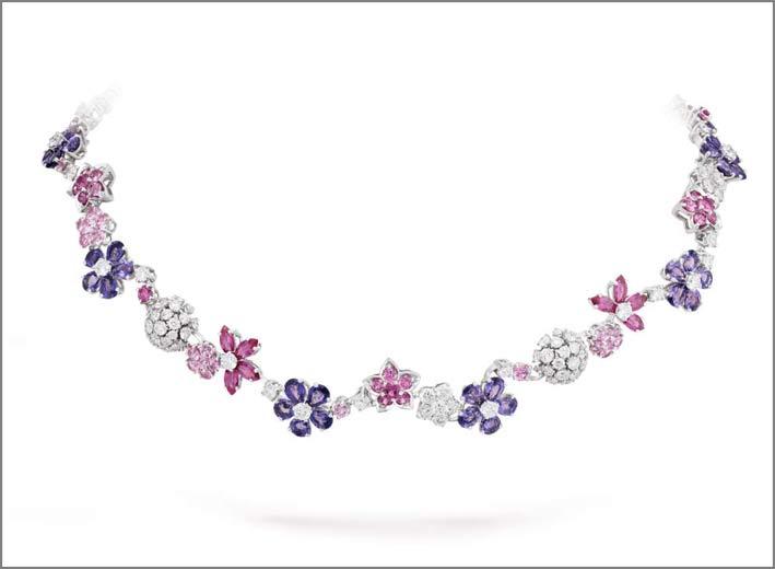 Collier in oro bianco, diamanti, zaffiri rosa e malva