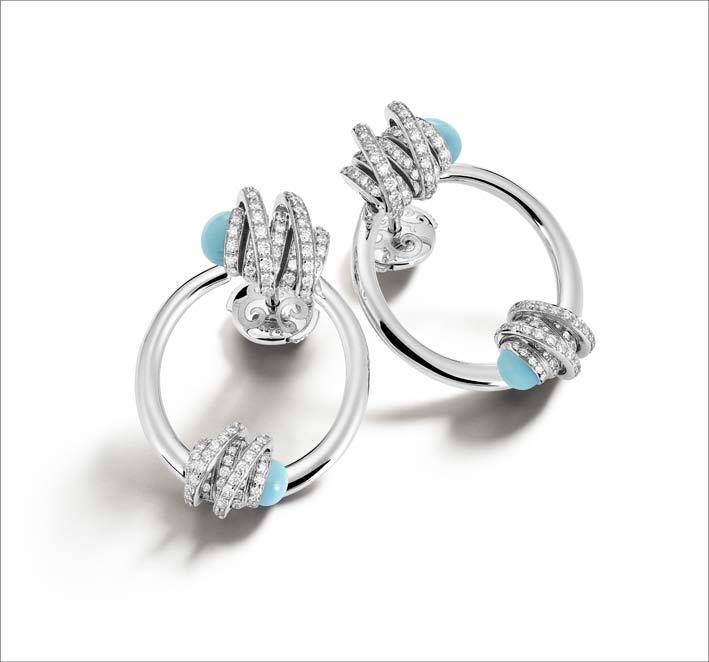 Orecchini in oro bianco, diamanti, turchese