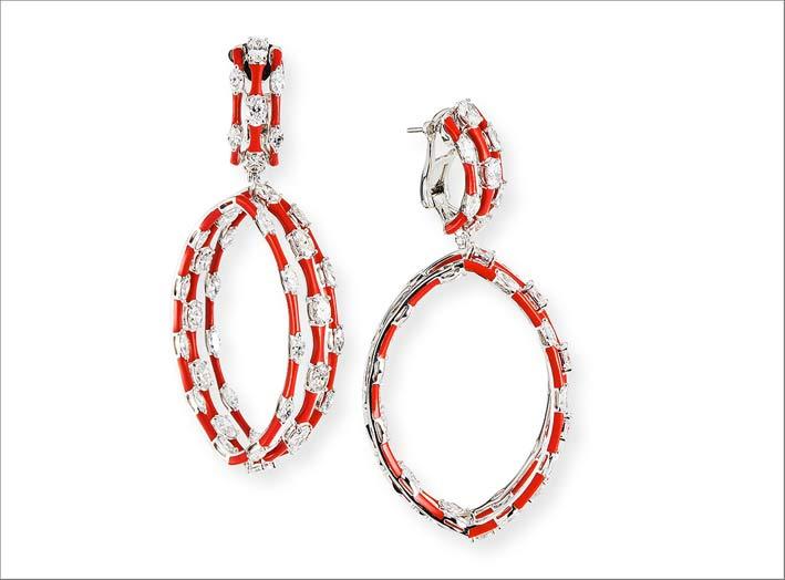 Etho Maria, orecchini in oro, ceramica rossa, diamanti