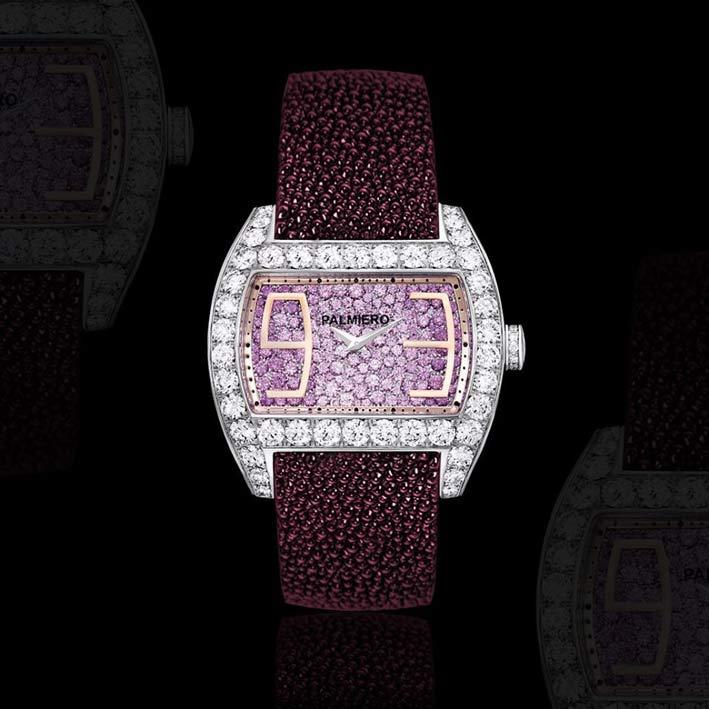 Palmiero, bracciale orologio Ingrid con quadrante in zaffiri rosa