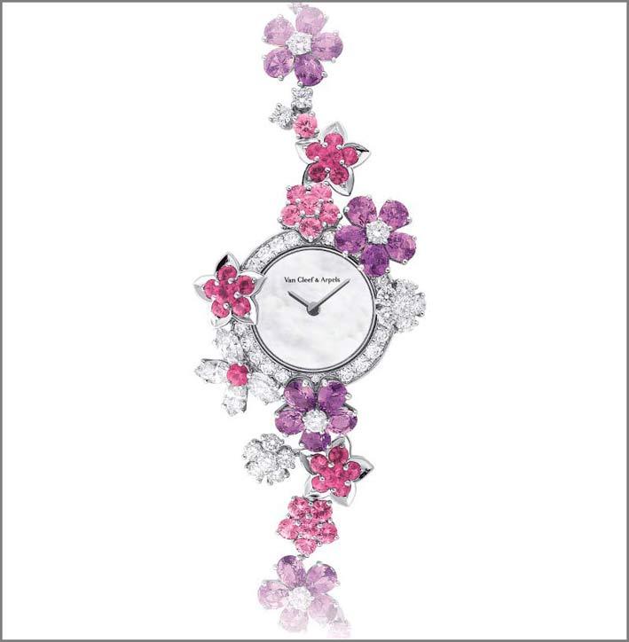 Van Cleef & Arpels, orologio con diamanti, zaffiri rosa e malva