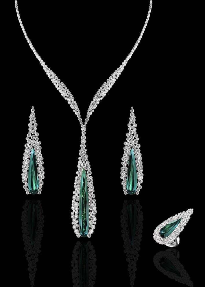 Bubbly Collection: collana, anello e orecchini in diamanti bianchi e gocce di tormalina verde su oro bianco