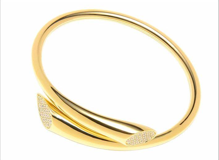 Qayten, bracciale Pompidou in oro flessibile e diamanti