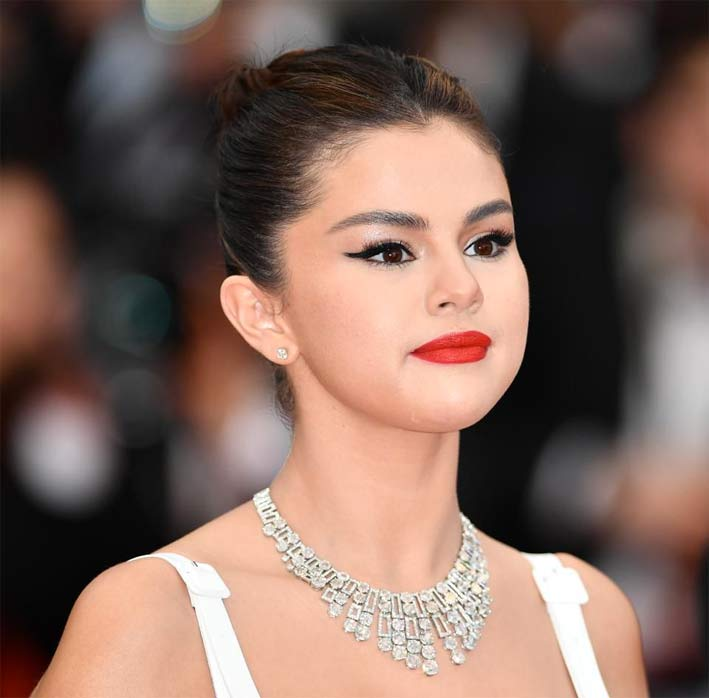 Selena Gomez with Bulgari necklace