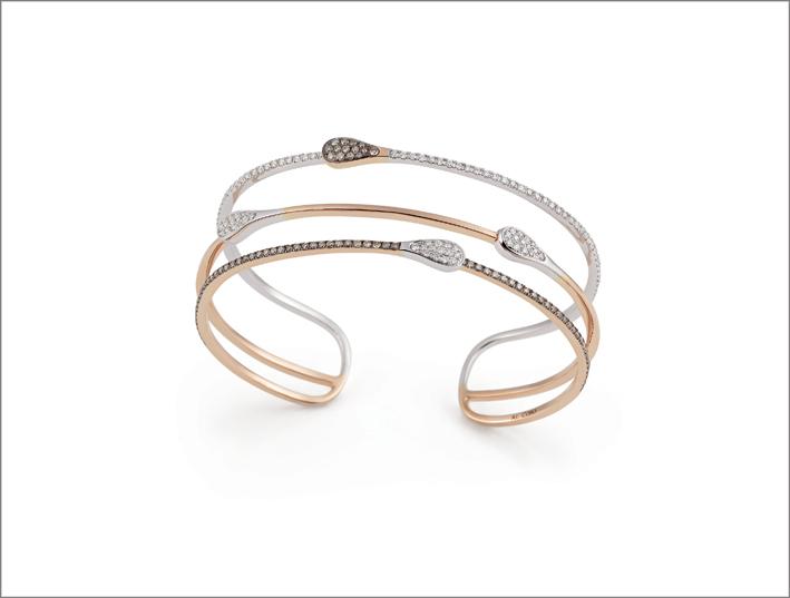 Bracciale in oro rosa e bianco. Prezzo: 6.890 euro