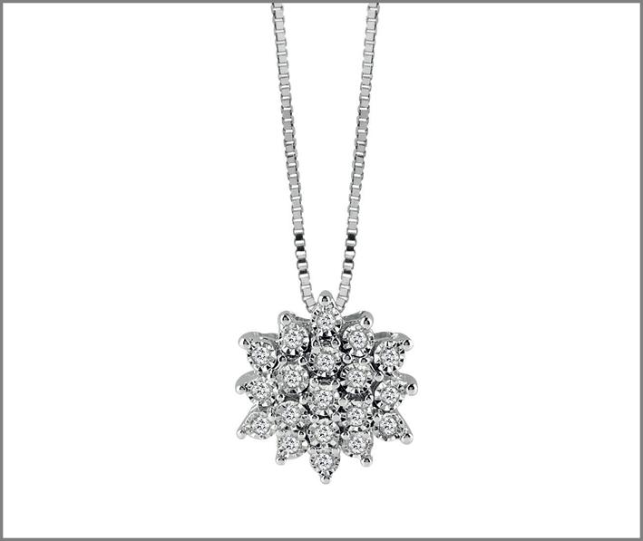 Collezione Elisir, pendente in oro bianco e diamanti