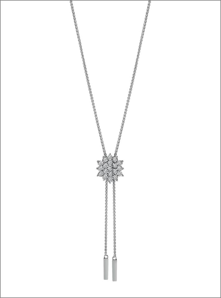 Collezione Elisir, collana regolabile in oro bianco e diamanti