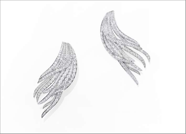 Orecchini Barbara, in oro bianco e diamanti