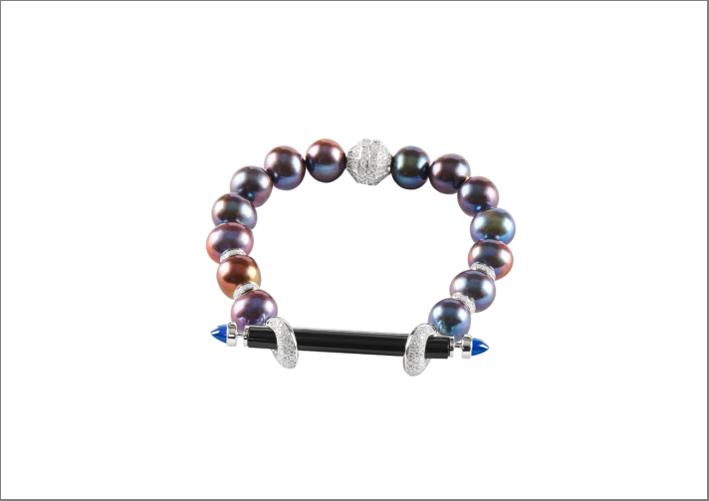 Bracciale Chakra in onice nero, perle, topazio