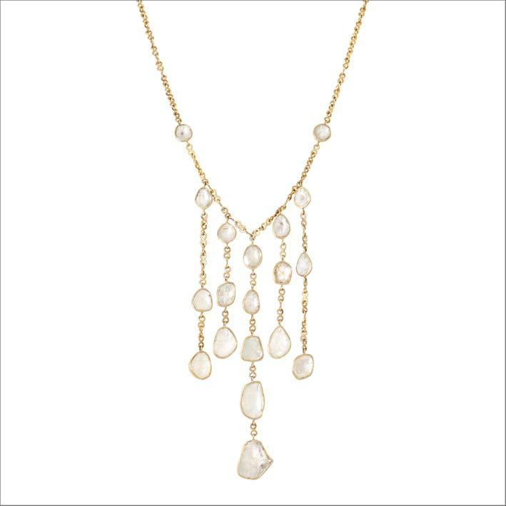 Collana frange in oro e diamanti
