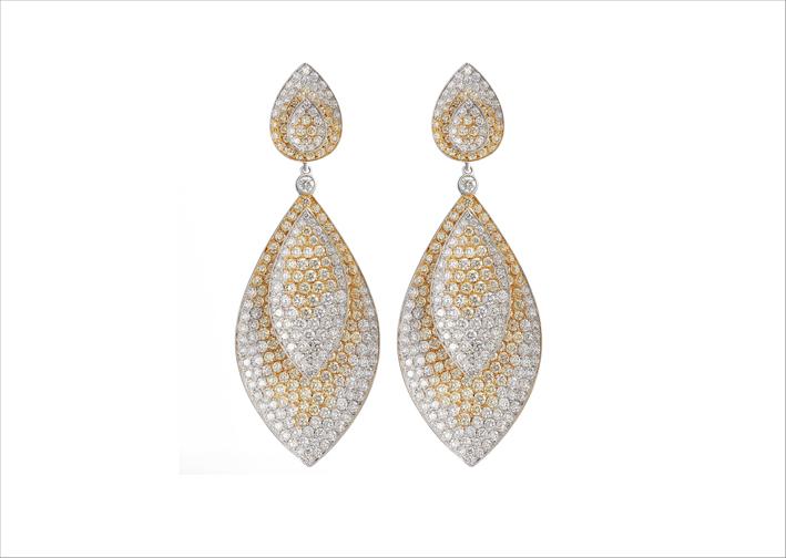 Orecchini di diamanti gialli e bianchi