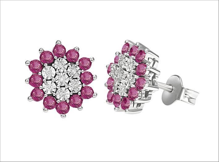 Bliss, orecchini in oro bianco, diamanti, rubinii