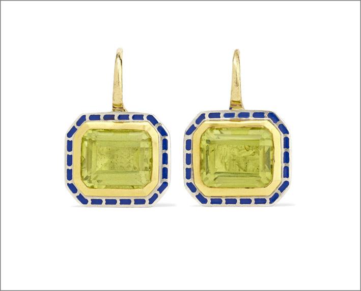 Orecchini in oro 22 carati, argento, smalto, quarzo giallo