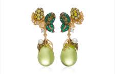 Orecchini in vermeil con oro giallo 18 carati, smeraldo cresciuto in laboratorio, peridoti, diamanti, Perle d'acqua dolce