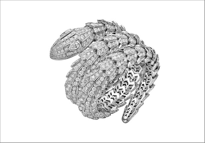 Bracciale Serpenti in oro bianco e diamanti