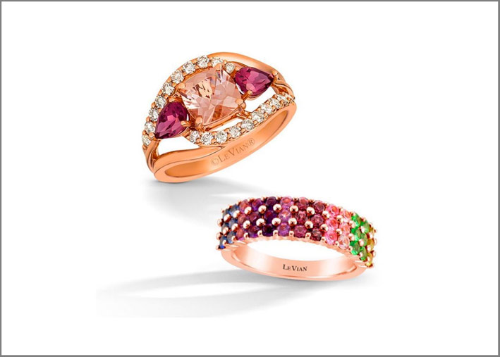 Anelli in oro rosa e gemme colorate