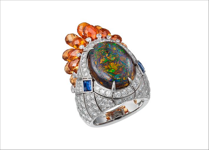 Anello in oro bianco, diamanti, opale, zaffiro, granati
