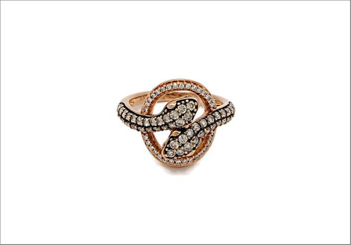 Anello Snake con diamanti chocolate