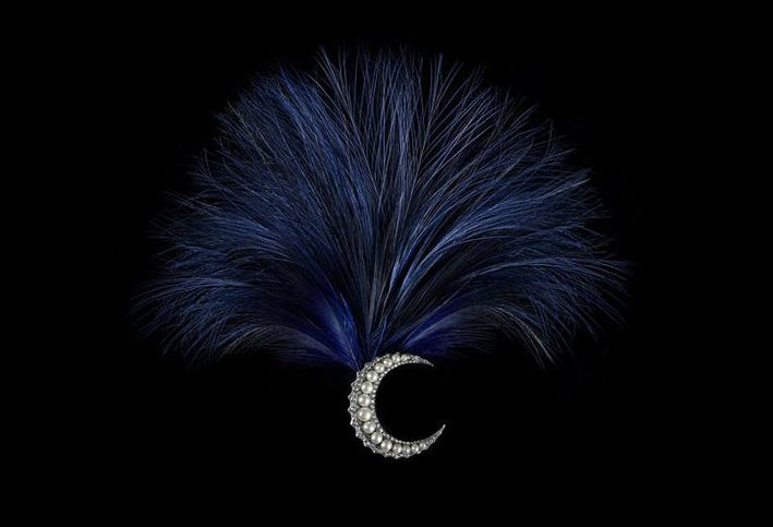 Spilla-aigrette Lune croissante, con diamanti e perle