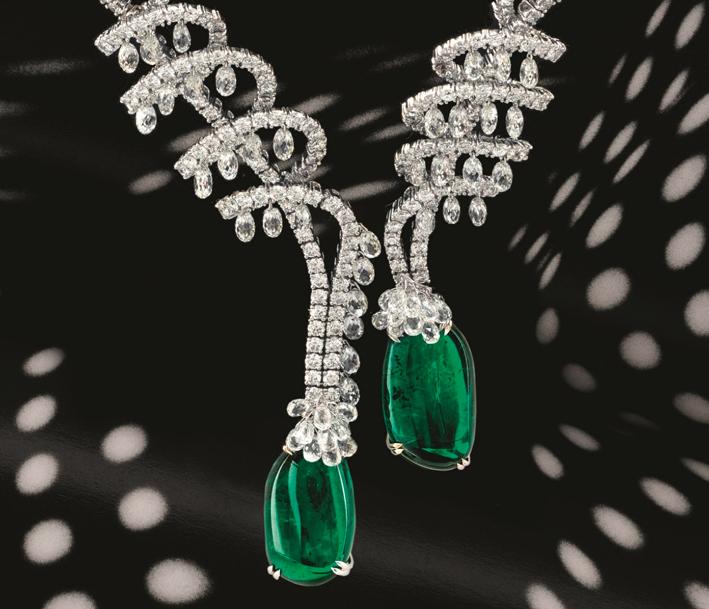 Chatila, collana con diamanti briolette e smeraldi