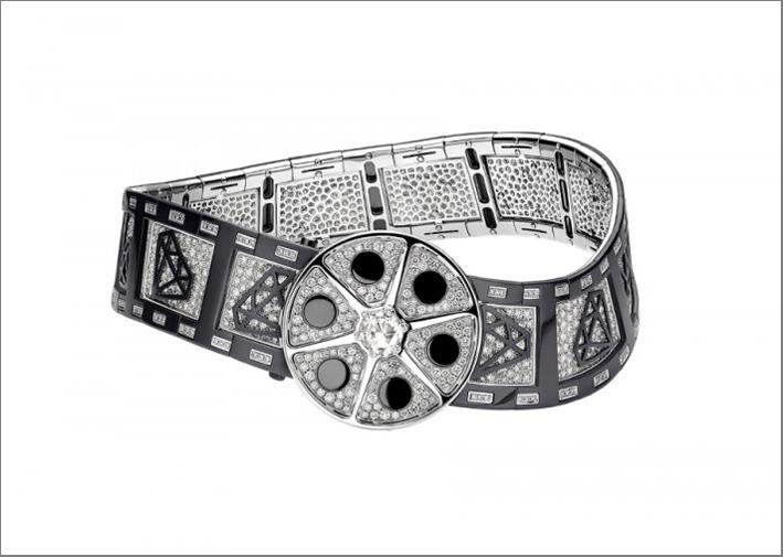 Collana Action! in oro bianco, diamanti, zirconio nero