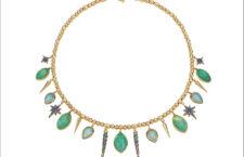 Collana con smeraldi Muzo, opali, ametiste, zaffiri