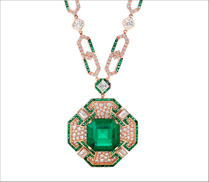 Bulgari, alta gioielleria, collana con smeraldo ottagonale