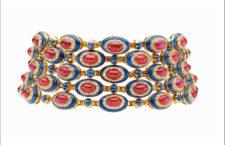Bulgari, collier con rubini, zaffiri, lapis, diamanti