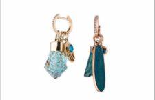 Orecchini amuleti in oro con acquamarina e tormalina
