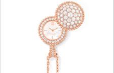 Ciondolo orologio in oro rosa e diamanti