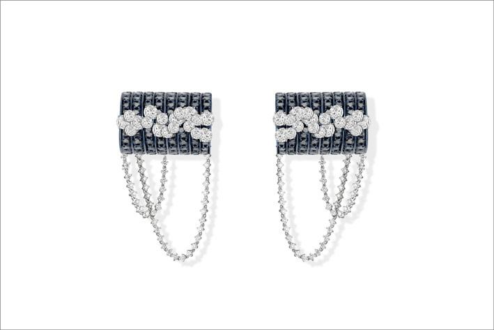Blue gold, black diamonds and round white diamonds earrings