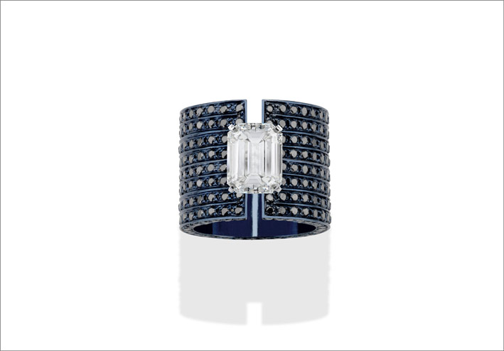 Blue gold, black diamonds, and emerald-cut diamond ring