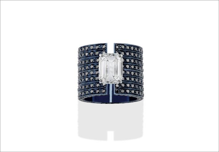 Blue gold, black diamonds, and emerald-cut diamond ring