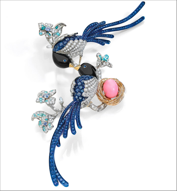 Blue Magpie Brooch