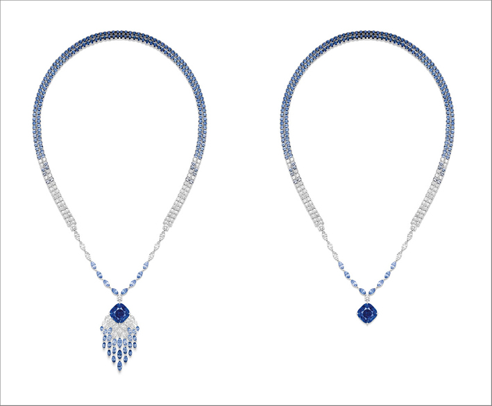 Blue Waterfall Necklace, 18K white gold necklace set with 1 cushion-cut blue sapphire from Madagascar (approx. 14.61 cts), 33 marquise-cut blue sapphires (approx. 9.02 cts),170 round-cut blue sapphires (approx. 21.25 cts), 21 marquise-cut diamonds (approx. 3.65 cts) and 61 brilliant-cut diamonds (approx. 6.61 cts). Transformable creation into necklace without dangling part
