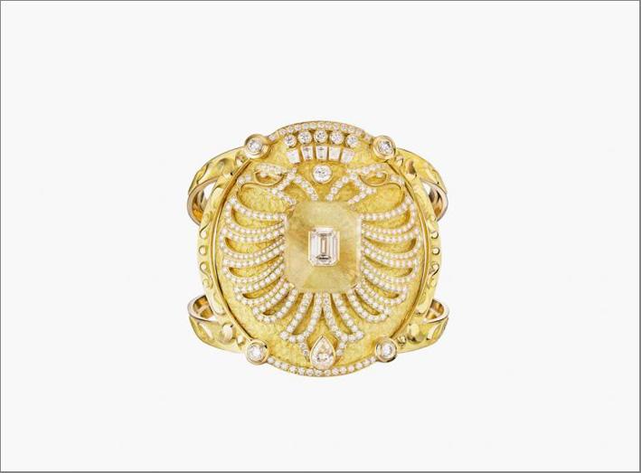 Bracciale Aigle Cambon in oro giallo, quarzo e diamanti