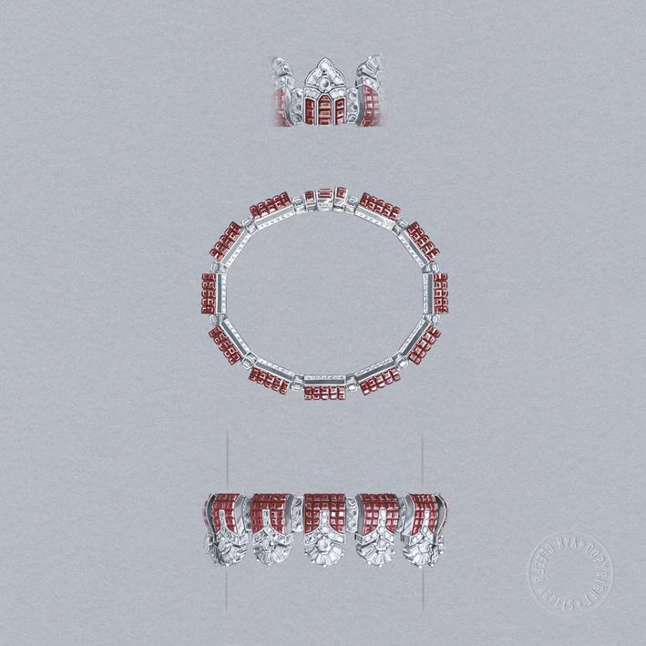 Merli, bracciale in oro bianco, oro rosa, Serti Mystérieux Traditionnel rubini, diamanti ispirato alle fortificazioni merlate di Verona