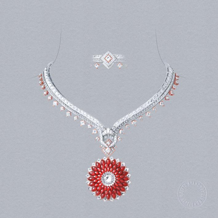 Collana con clip amovibile. Oro bianco, oro rosa, Serti Mystérieux Navette rubini taglio buff-top, zaffiri rosa, rubini, diamanti