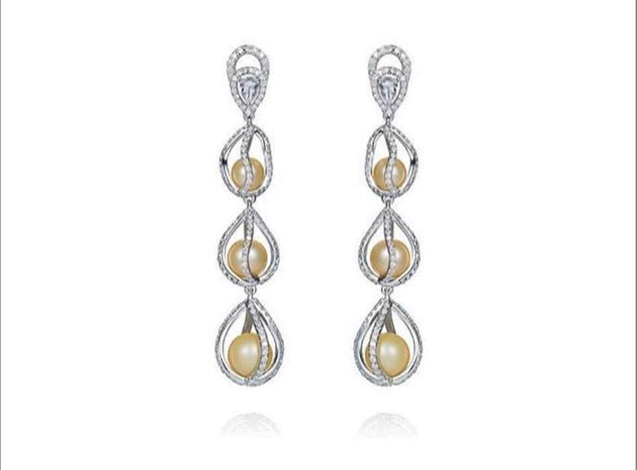 Indulgence collection, in oro bianco,diamanti, perle
