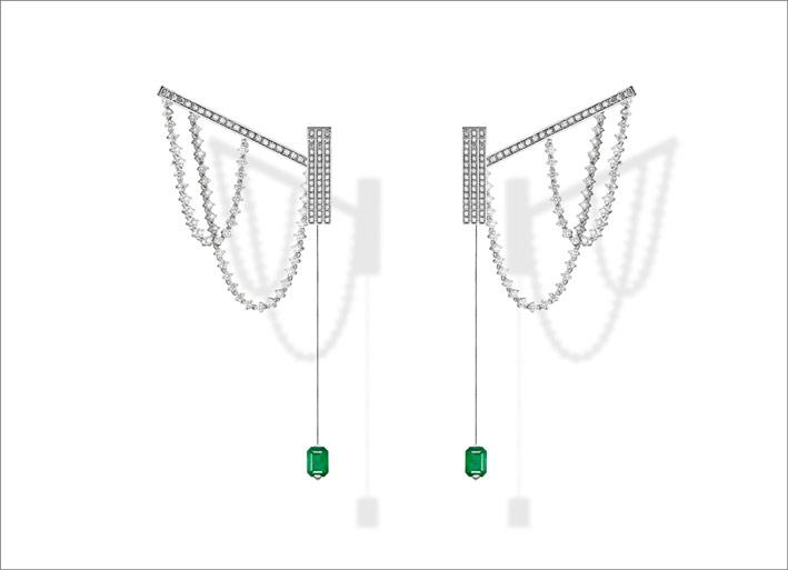 Parabole, white gold, white diamonds and emeralds earrings