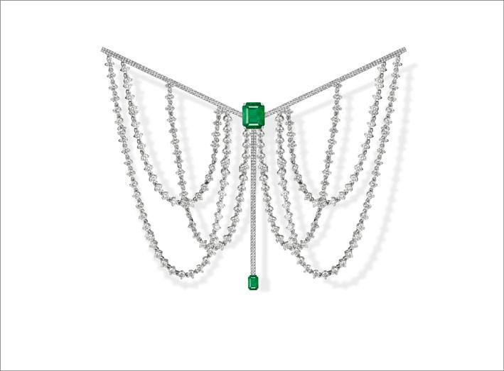 Parabole, white gold, white diamonds and emeralds brooch