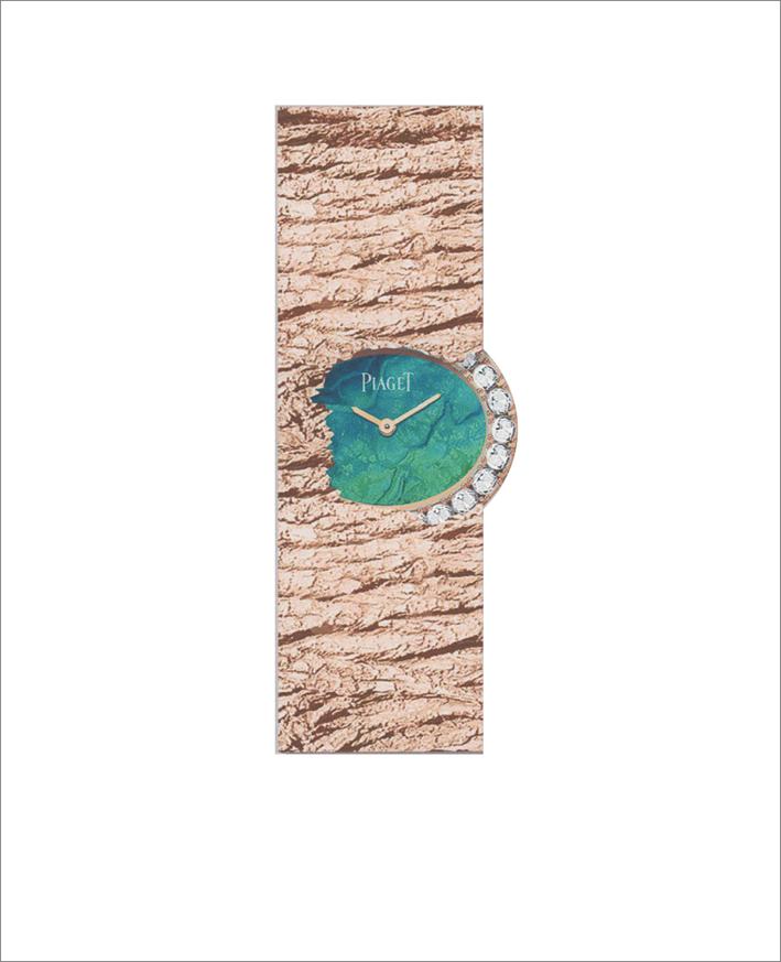 Secret Waters Watch, 18K rose gold watch set with 8 brilliant-cut diamonds (approx. 0.58 ct) Black opal dial. Palace décor engraved 18K 4N rose gold bracelet. 56P quartz movement