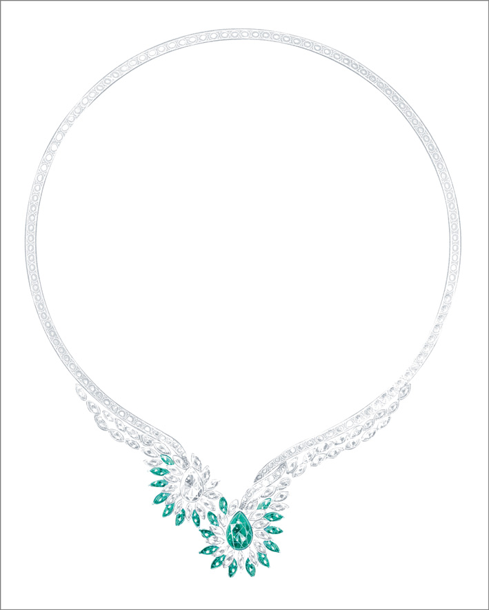 Vegetal Laces Necklace, 18K white gold necklace set with 1 pear-shaped emerald from Colombia (approx. 3.70 cts) and 1 pear-shaped diamonds (approx. 3.21 cts), 19 marquise-cut emeralds (approx. 5.76 cts), 59 marquise-cut diamonds (approx. 11.61 cts) and 146 brilliant-cut diamonds (approx. 14.07 cts). Unique color creation