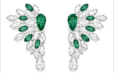 Vegetal Laces Earrings, 18K white gold earrings set with 2 pear-shaped emeralds from Colombia (approx. 1.26 ct and 1.14 ct), 2 pear-shaped diamonds (approx. 1.40 ct),10 marquise-cut emeralds (approx. 6.00 cts) and 28 marquise-cut diamonds (approx. 8.02 cts)