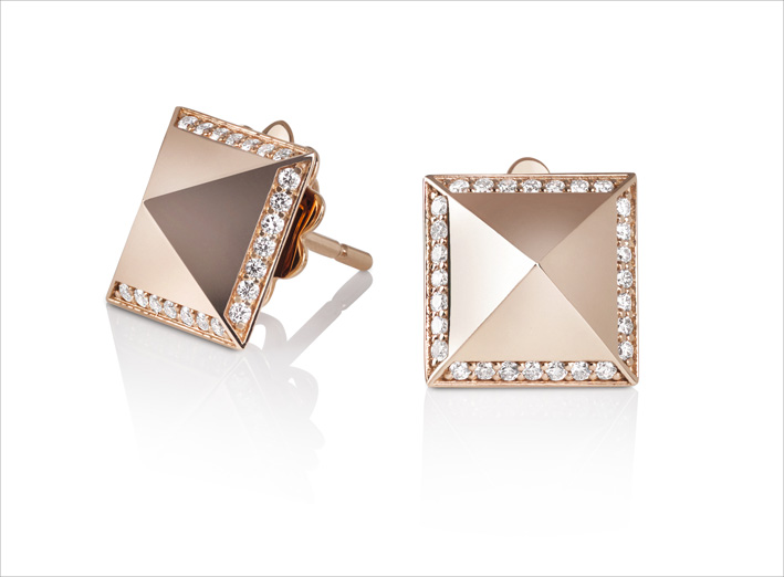Rose gold stud earrings with diamonds