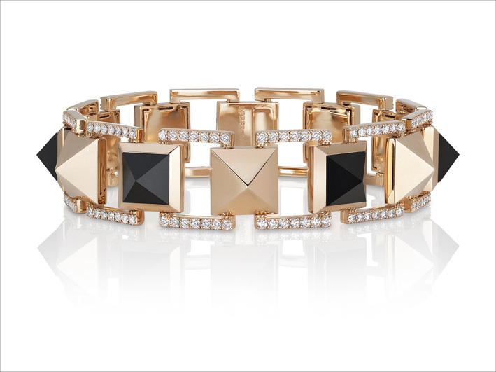 : Rose gold bracelet with black jade and diamonds