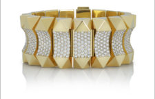 Yellow gold bracelet in yellow gold with diamonds