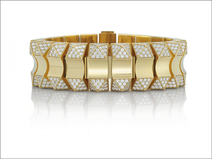 Roberto Coin, yellow gold bracelet in yellow gold with diamonds